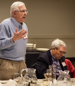 Executive committee member Sam Magill asks a questions as Donald Shaw of the School of Media and Journalism takes notes